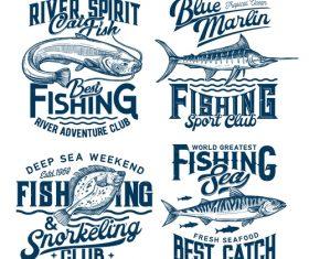 Various sea fish logo vector