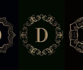 Vector D logo of mandala decorative frame