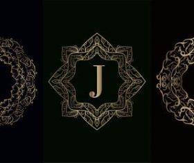 Vector J logo of mandala decorative frame