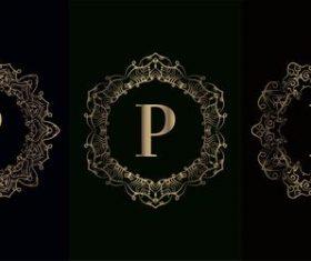 Vector P logo for mandala decorative frame