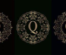 Vector Q logo for mandala decorative frame