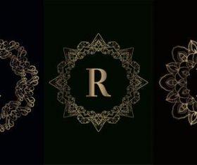 Vector R logo for mandala decorative frame