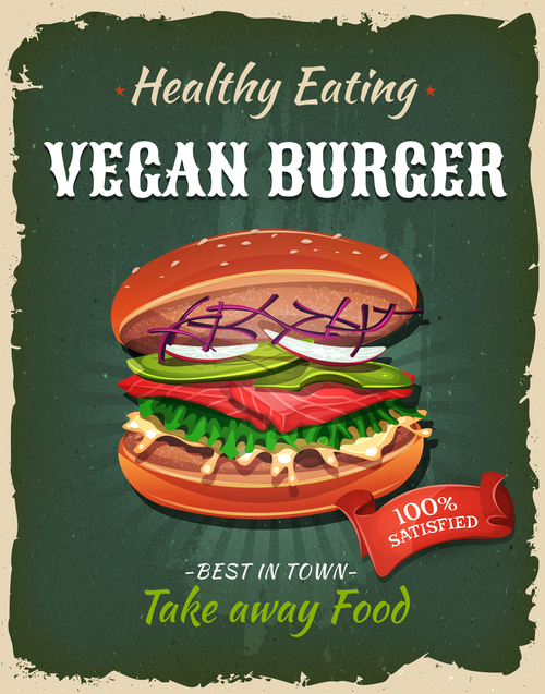 Vegan burger flyer vector