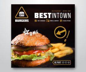Vegetarian burger flyer vector