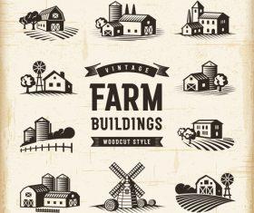 Vintage farm buildings set vector
