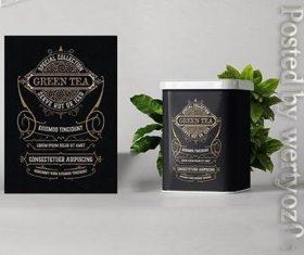 Vintage tea label vector