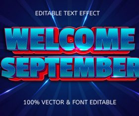 Welcome september style comic editable text effect vector