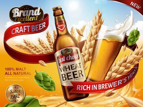 Wheat beer ad vector