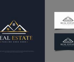 White and gold luxury real estate logo vector design