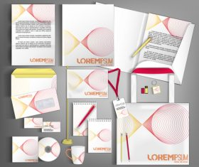 White and red line background business template vector