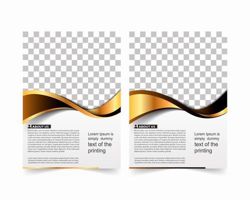 White background golden stripes annual report design vector
