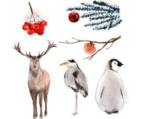 Wild animal watercolor illustration vector