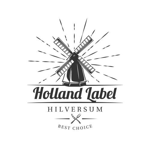 Windmill label vector