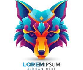 Wolf head origami logo vector