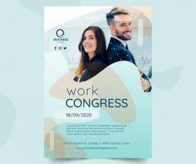 Work congress business flyer vector