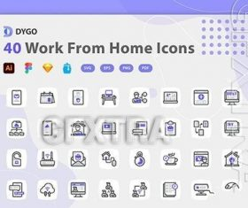 Work from home icons pack vector