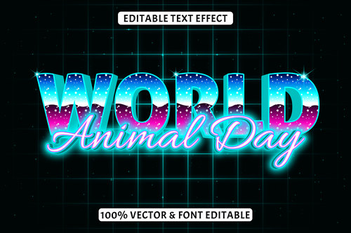 World animal day editable text effect retro style vector
