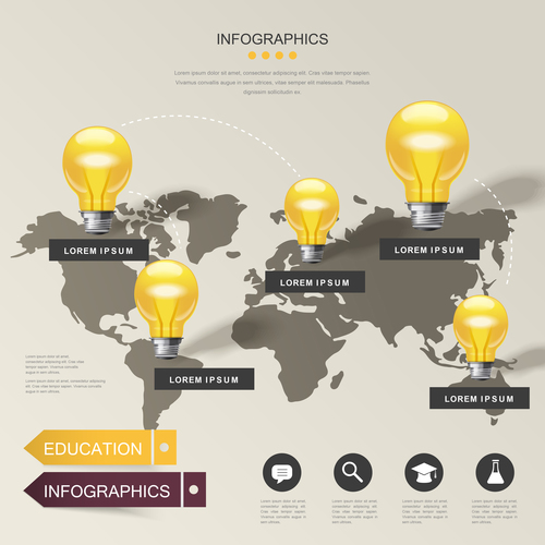 World education infographic background vector