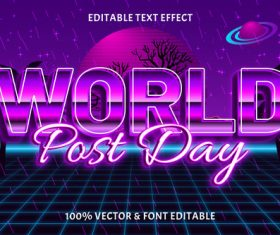 World post day editable text effect retro style vector