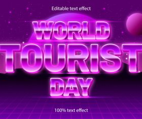 World tourist day editable text effect retro style vector