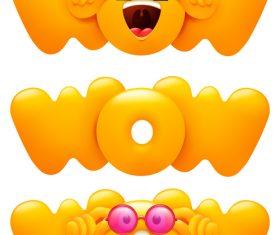 Wow emoji set vector