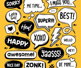 Yellow background cartoon bubble text vector