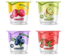 Yogurt packaging bottle realistic 3d vector