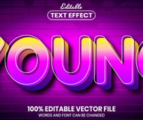 Young text font style vector
