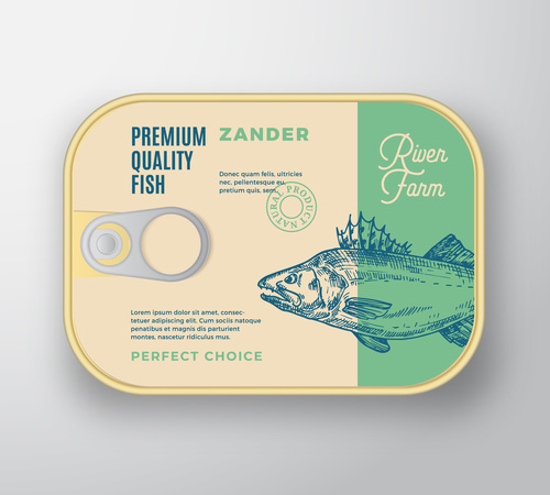 Zander canned food packaging container vector