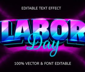 labor day style neon editable text effect vector