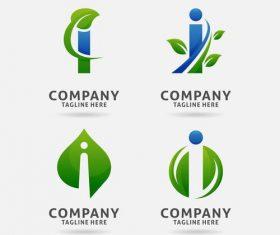 letter I leaf logo vector