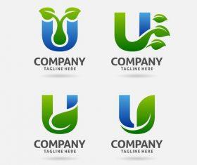 letter U leaf logo design vector