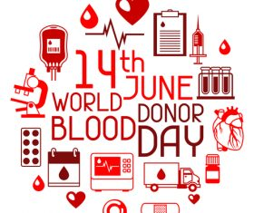 14th june world donor blood day vector