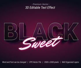 3D Black Sweet Editable Text Effect Vector