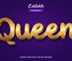 3d gold queen text effect vector