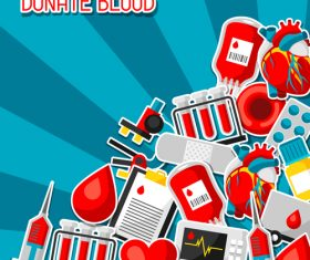 Actively donate blood to help others vector