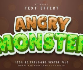 Angry monster text effect vector