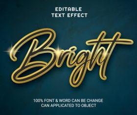 BRIGHT editable text style vector