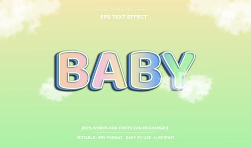 Baby text effect vector