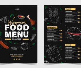 Back front restaurant restaurant menu template vector