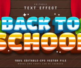 Back to school text effect editable vector