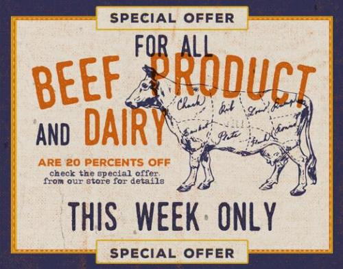 Beef Product Dairy Label Vector