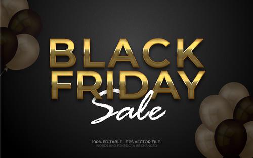 Black friday sale editable eps text effect vector