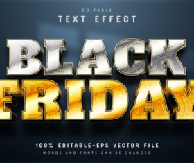 Black friday silver and gold text effect editable vector
