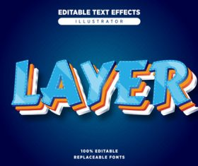 Blue layered editable text effects vector