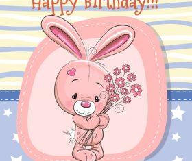 Bunny cartoon birthday illustration vector
