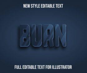 Burn new style editable text vector
