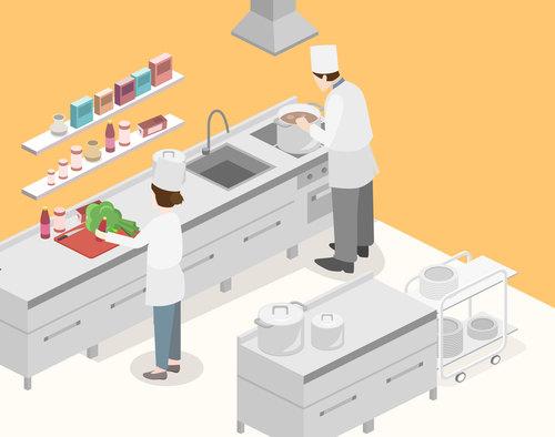 Busy chef cartoon illustration vector