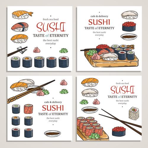 Cafe delivery sushi taste illustration vector