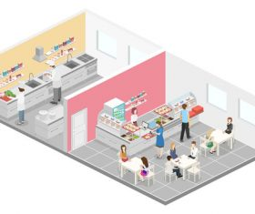 Cafeteria and kitchen illustration vector